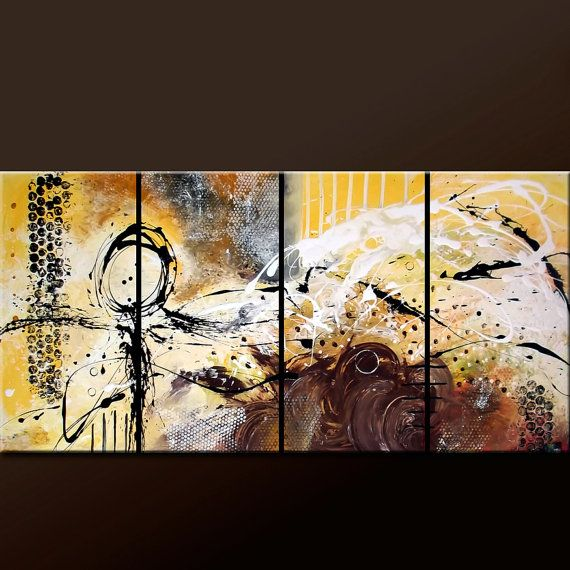 ABSTRACT Canvas Art Painting  - Huge 4pc Original Custom Made to Order Modern Contemporary Fine Art Painting by Destiny Womack - dWo - 72x36...