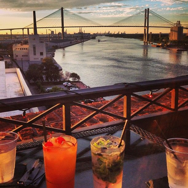 Sunset cocktails at Rocks on the Roof at The Bohemian Hotel - perfect way to kick off your girls weekend in Savannah!