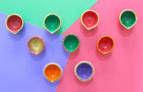 Diwali diyas with decoration