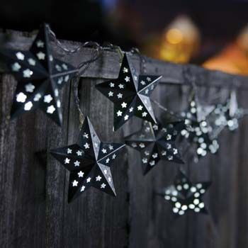 Light up alfresco evenings with these solar-powered metal star string lights.  Priced at £15.