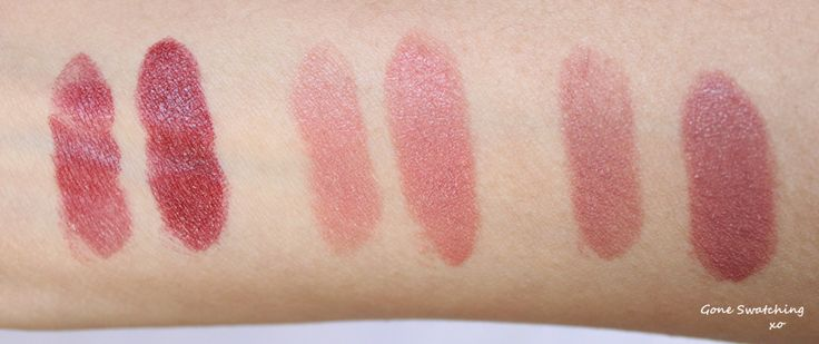 Swatches of Ilia Lipsticks Left to Right - Lucy's Party, The Brides and Madam Mina