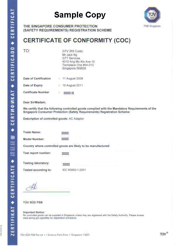 Certificate Of Conformity (COC) Under CPS Scheme