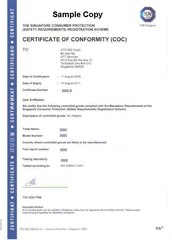 Certificate Of Conformity (COC) Under CPS Scheme