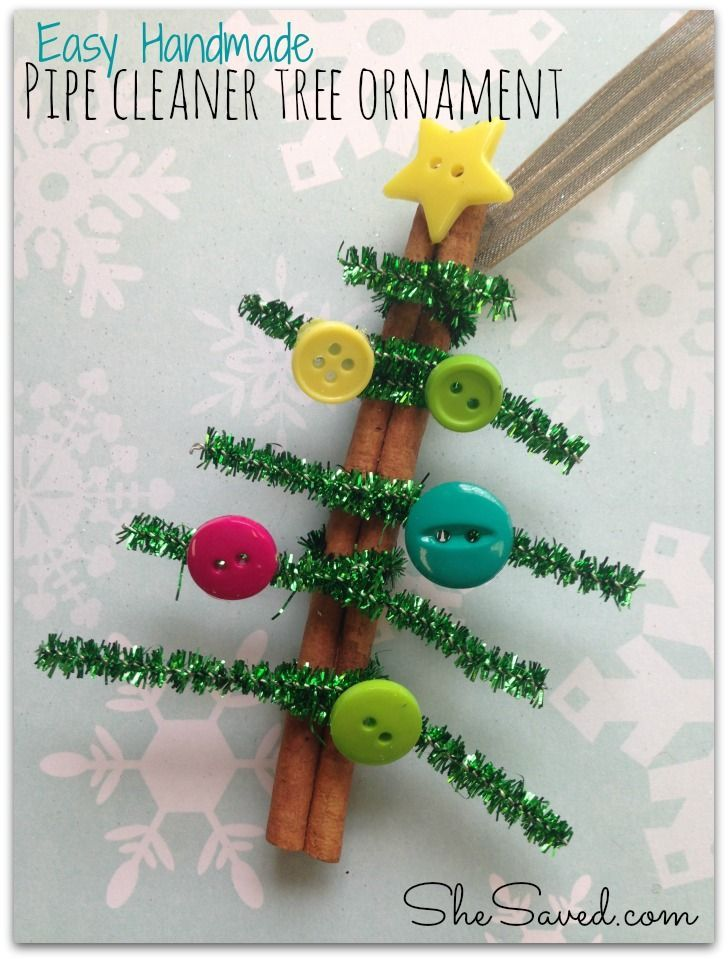 Pipe Cleaner Tree Ornament from She Saved. Easy handmade gift idea!