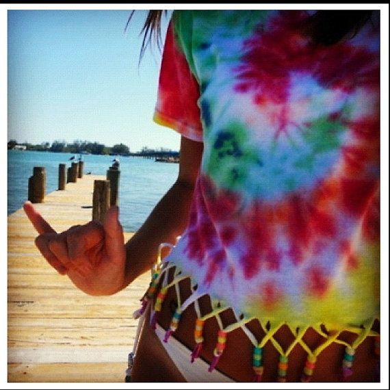 Fringed Tie Dye shirt with beads by SchuetzBoutique on Etsy, $25.00