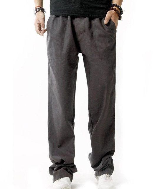 Fashion Men linen pants Comfortable Male trousers jogger pants casual straight pants plus size M-4XL