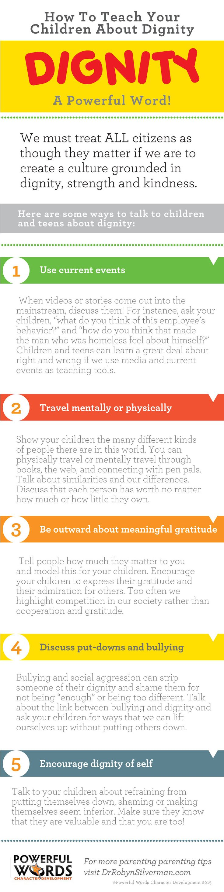 """Use these 5 tips to teach your child about """"Dignity"""" and the important role it plays in all our lives!"""