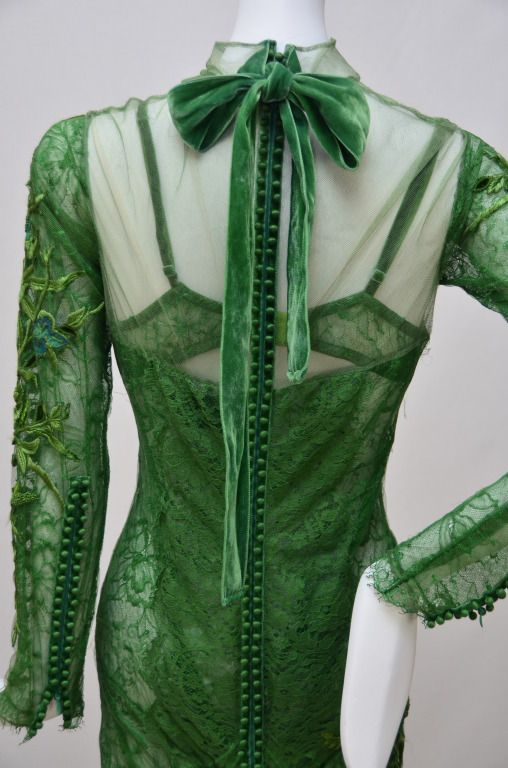 Tom Ford Emerald Green Embroidered  Silk Satin Lace Dress image 6