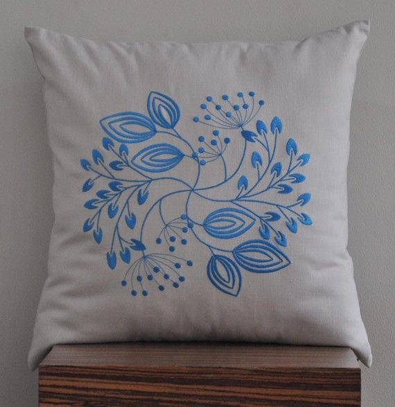 "Centro Floral Throw Pillow Cover -  18"" x 18"" Decorative Pillow Cover - Oatmeal Linen with Blue Flower - Embroidered Pillow Cover"