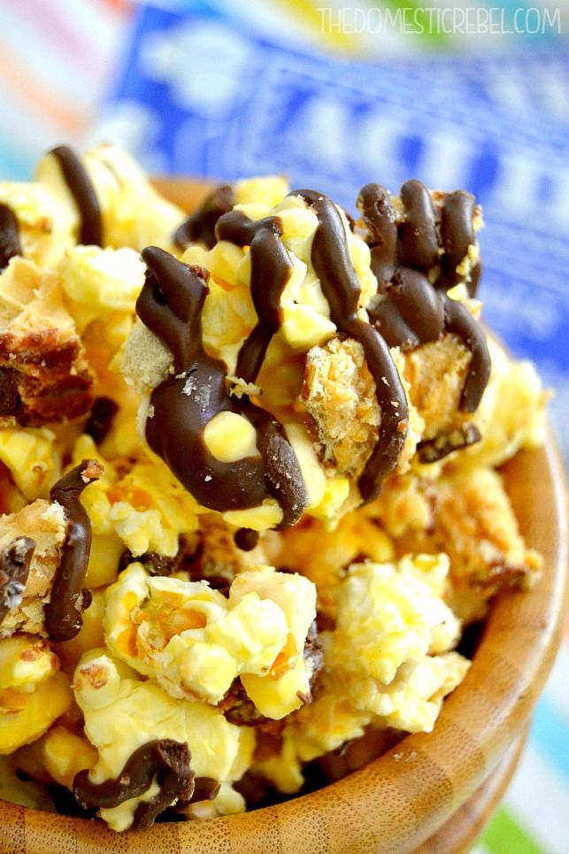 This Nutty Buddy Popcorn is packed with sweet peanut buttery flavor, crisp wafer cookies and lots of chocolate! You won't be able to resist a second helping!