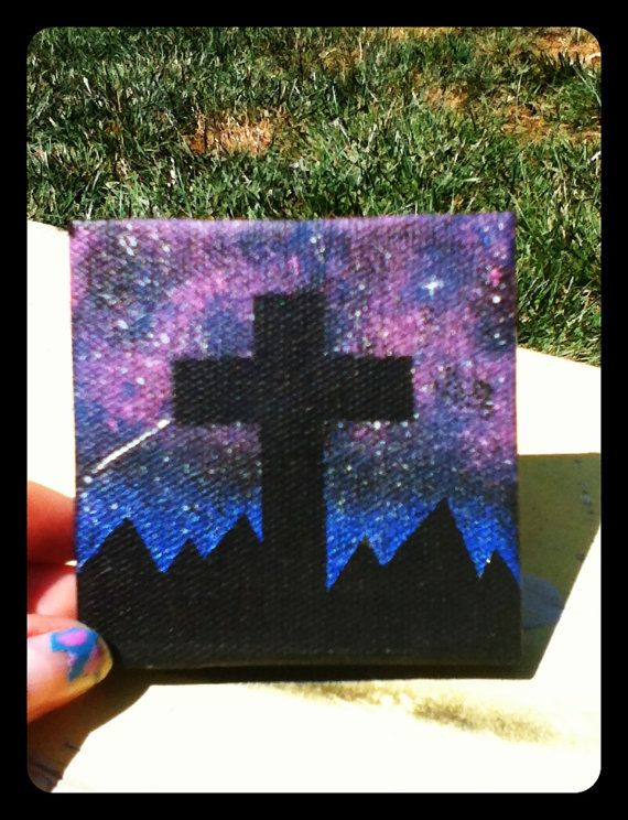 Galaxy Canvas Painting with Silhouetted Cross. by MorgsCreations, $17.50