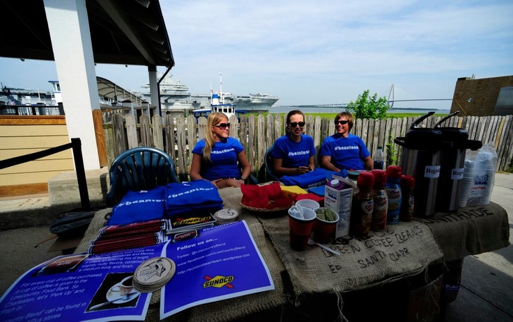The #beanteam belles promote Lowcountry Blend at Patriots Point Naval & Maritime Museum Mount Pleasant, S.C., July 27, 2012.