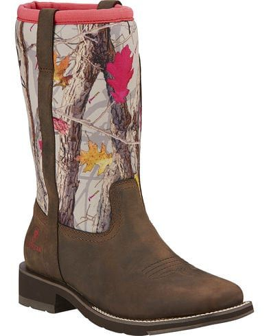 Ariat Fatbaby All Weather Camo Cowgirl Boots - Square Toe, Brown