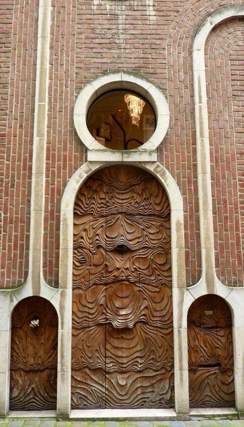 Ghent, Belgium - Art Deco Doors and window, beautiful woodcarvings!