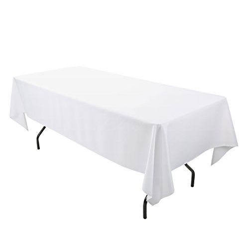 E Tex Rectangle Tablecloth 60 X 102 Inch Rectangular Table Cloth For 6 Foot Table In Washable Polyester Wh Rectangular Table Table Cloth Rectangle Tablecloth