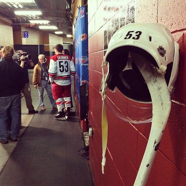 Instagram • nhlcanes: How a veteran, 30-goal scorer sets aside his stick and helmet for a walk-off interview. #Skinner30