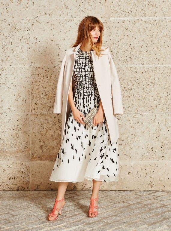 LK Bennett, Georgia midi dress, £425, Violet tailored coat, £350