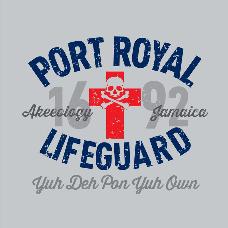 PORT ROYAL LIFEGUARD. In 1692, the Pirate Paradise, Sin City, otherwise named Port Royal, Jamaica, was hit with a massive earthquake and a series of tidal waves, which leveled the then wicked capital of the island. Since then you are the self appointed Port Royal Lifeguard letting those take heed, sink or swim but 'Yuh Deh Pon Yuh Own'. A classic-fitting basic t-shirt with feminine styling. Design is printed soft to the touch. Available in Silver and White tees.  #Jamaican #patois
