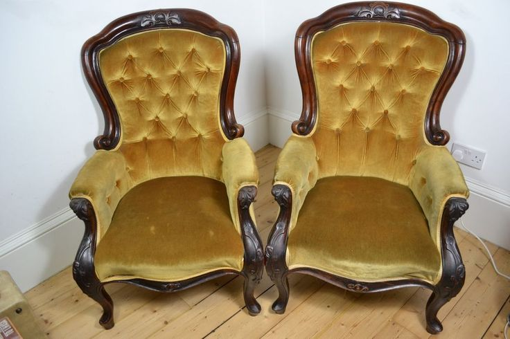 ANTIQUE VICTORIAN SPOON-BACK VELVET MAHOGANY WOOD 2 x CHAIRS CHAIR ENGLISH MADE