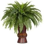 33 in. H Green Boston Fern with Bamboo Vase Silk Plant