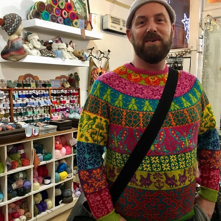 Have you ever seen such magic?!? A wonderful customer, Dan, came by and I totally swooned at his sweater. He is Vavaneckwear on Ravelry and he did a mash-up of stitch motifs from our Muhu Island book in a mix of our Wollmeise Pure. Just breathtaking. #LoveMyCustomers