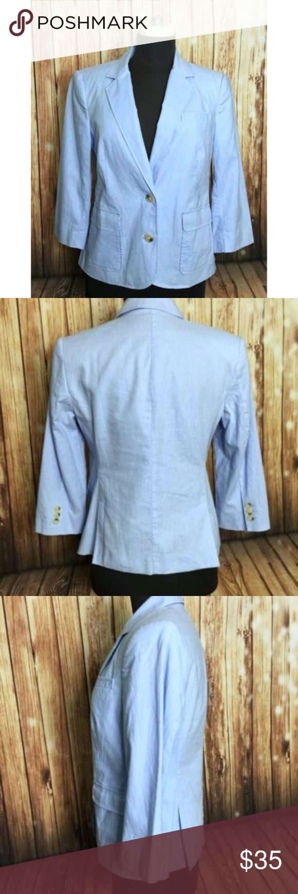 "VICTORIA SECRETS Light Blue Blazer Material: 55% Flax, 45% Cotton Condition: Pre-Owned, Great Condition, No Flaws.  Measurements (laying Flat)     *Measurements are approximate and for reference only*  Long: 24"" Sleeve:  17"" long,  6"" wide Armpit to Armpit: 18"" Waist: 16""  Please note that slight color difference should be acceptable due to the light and screen.  BIN3-090 Victoria's Secret Jackets & Coats Blazers"