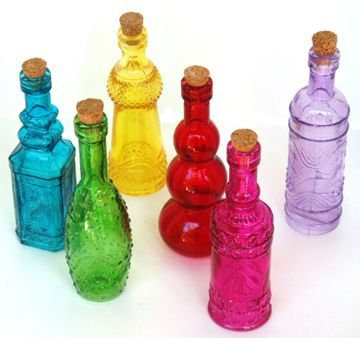 1000 images about color glass bottles on pinterest for Small colored glass jars
