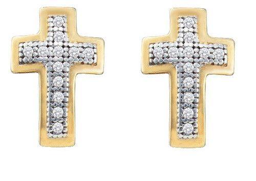 1/10CTW-Diamond CROSS EARRINGS