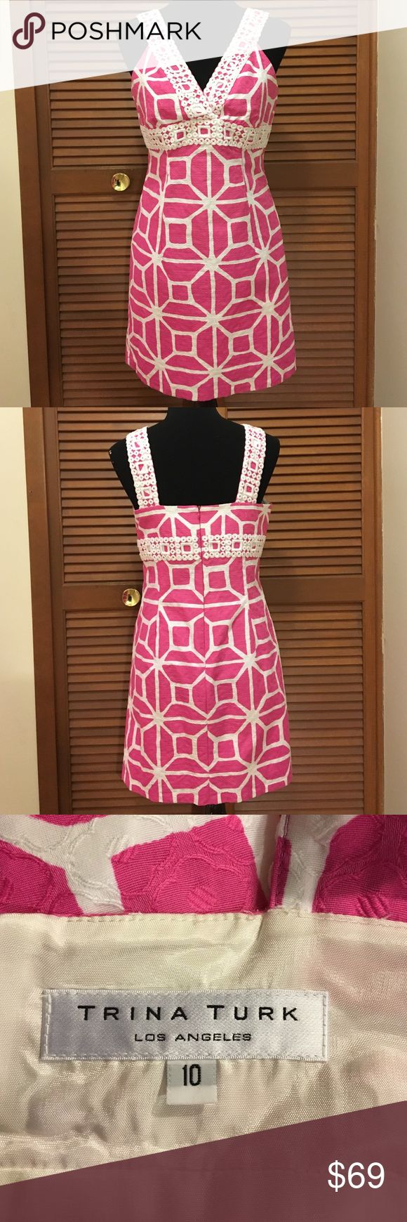 Trina Turk dress size 10 pink and white This dress is gorgeous!! Pink and white geometric print Trina Turk dress. Size 10. Dress is fully lined. Dress is 100% cotton. lining is 100% acetate. Bundle two or more items from my closet and save! Trina Turk Dresses