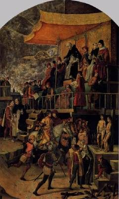 Burning of the Heretics (Auto-da-fé) Pedro Berruguete c. 1500 Oil on panel, 154 x 92 cm Museo del Prado, Madrid  Berruguete lived during the last years of the reconquista when those sentenced to be burned at the stake were mostly Moors who had been converted to Christianity but who were suspected of practicing Mohammedanism in secret. Berruguete witnessed the death of these heretics and this painting faithfully illustrates the manner in which the sentences imposed by the Inquisition wer