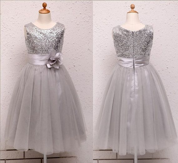 Silver Sequins Light Gray Tulle Flower Girl Dress Baby by deepado, $43.99