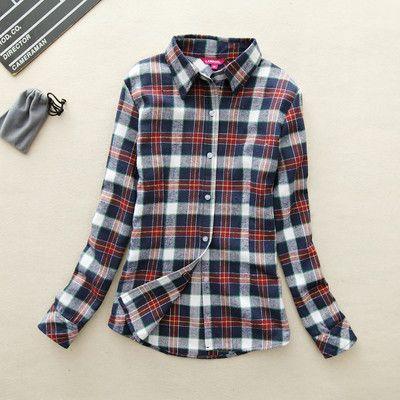 Casual Cotton Lapel Long-Sleeve Plaid Shirt