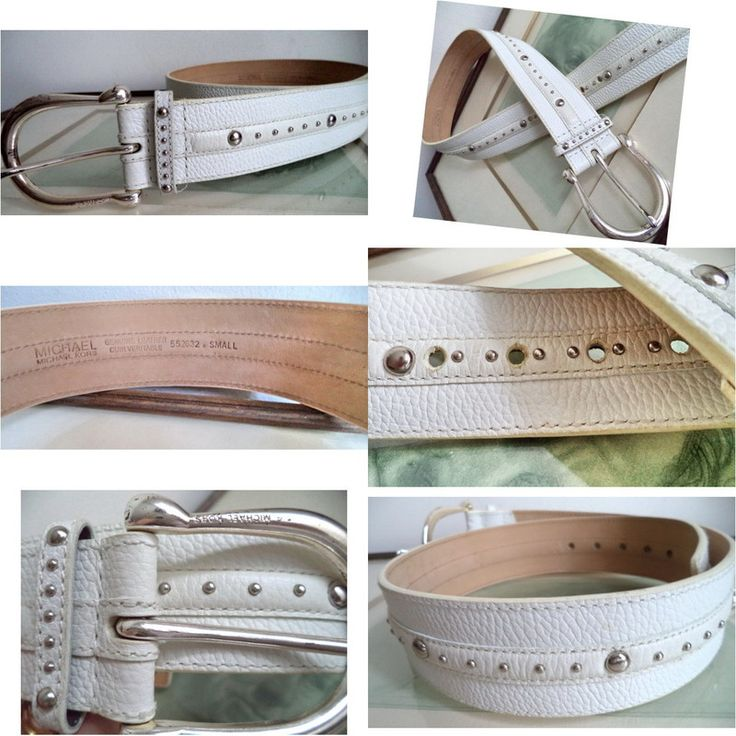 MICHAEL KORS Funky studded WHITE small LEATHER WIDE belt 552632 Western Hipster