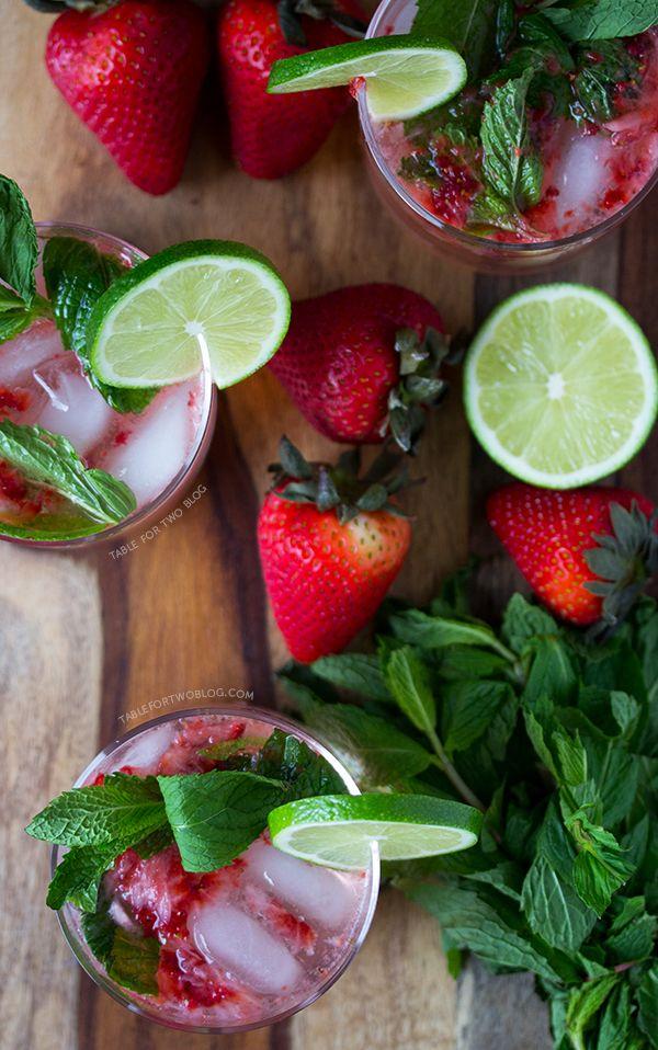 Strawberry Mojitos   www.tablefortwoblog.com