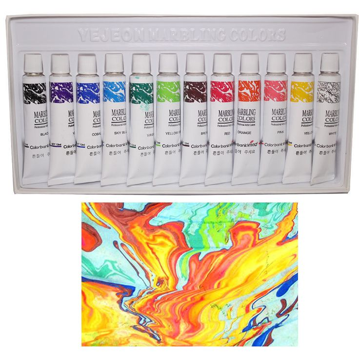 Yejeon Colorbank Water Marbling Paint Tube 12 Colors Tube Set (12ml) - 1 Set #ColorBankVivid