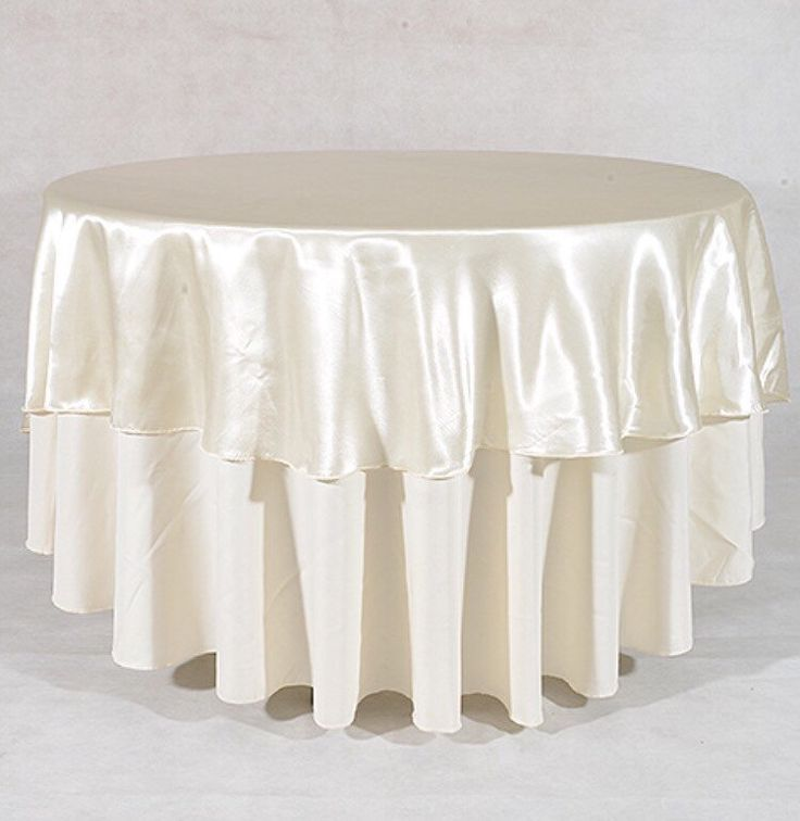 Ivory Satin Table Overlay   On Sale 90 Inch Round Tablecloth (set Of 5)