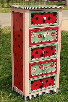 brightly painted girl's lingerie chest