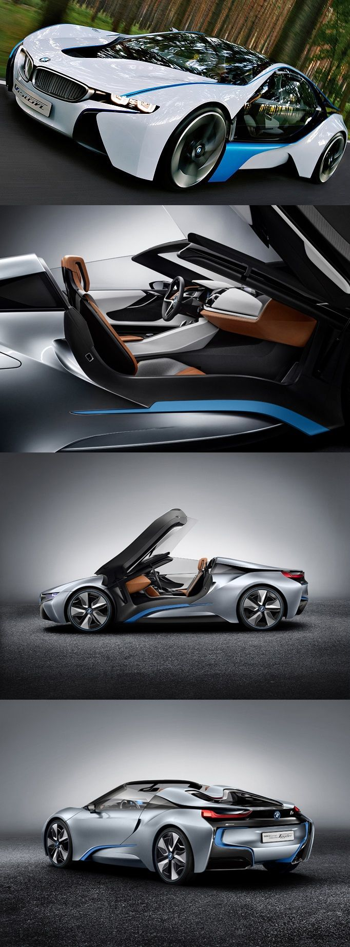 #BMW i8 Concept #Spyder. The BMW i8, first introduced as the BMW Concept Vision Efficient Dynamics, is a plug-in hybrid under development by BMW. BMW i8 has a 7.2 kWh lithium-ion battery pack estimated to deliver an all-electric range of 35 km (22 mi). #futurecar
