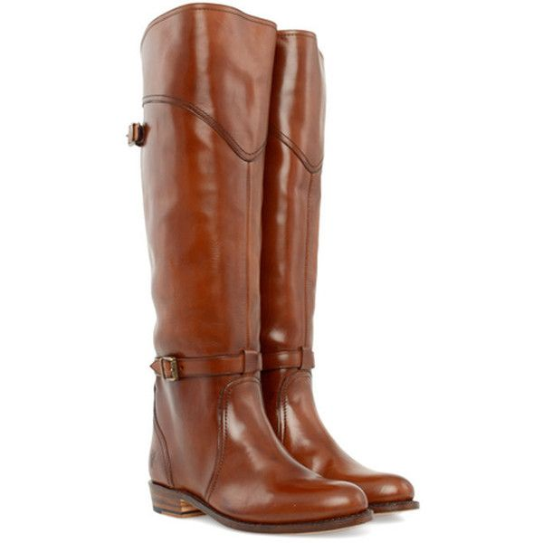 FRYE Dorado Riding shoes (31.855 RUB) ❤ liked on Polyvore featuring shoes, boots, botas, flats, sapatos, whiskey, knee-high boots, knee high boots, shiny boots and leather sole boots
