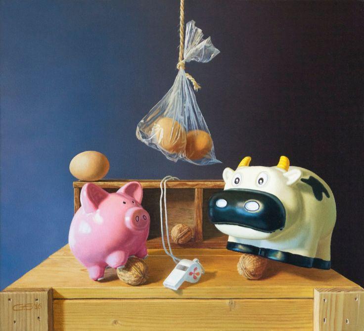 """""""Go nuts"""" absurd realisme van George Schriemer, olieverf op paneel"""