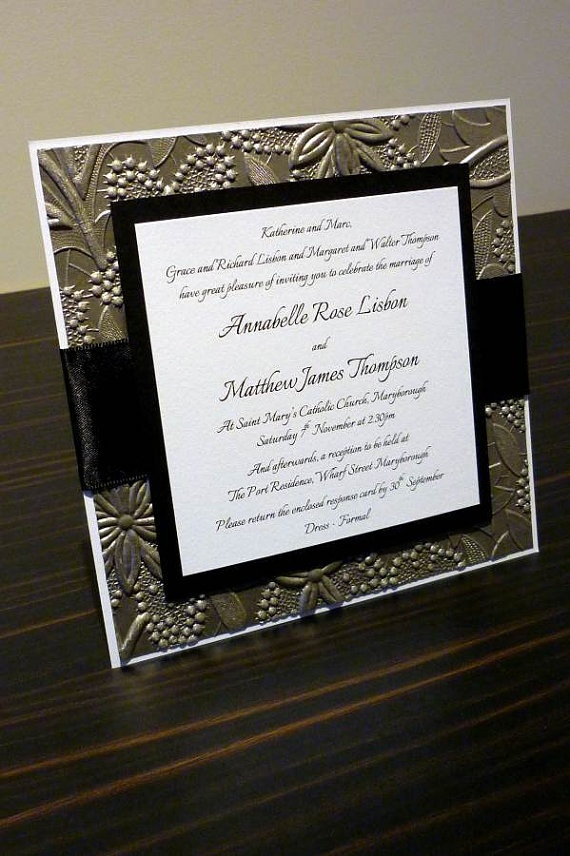 Pewter / Bronze Floral Embossed Wedding Invitation by StunningStationery, on Etsy