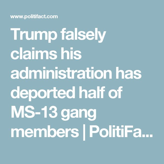 Trump falsely claims his administration has deported half of MS-13 gang members | PolitiFact