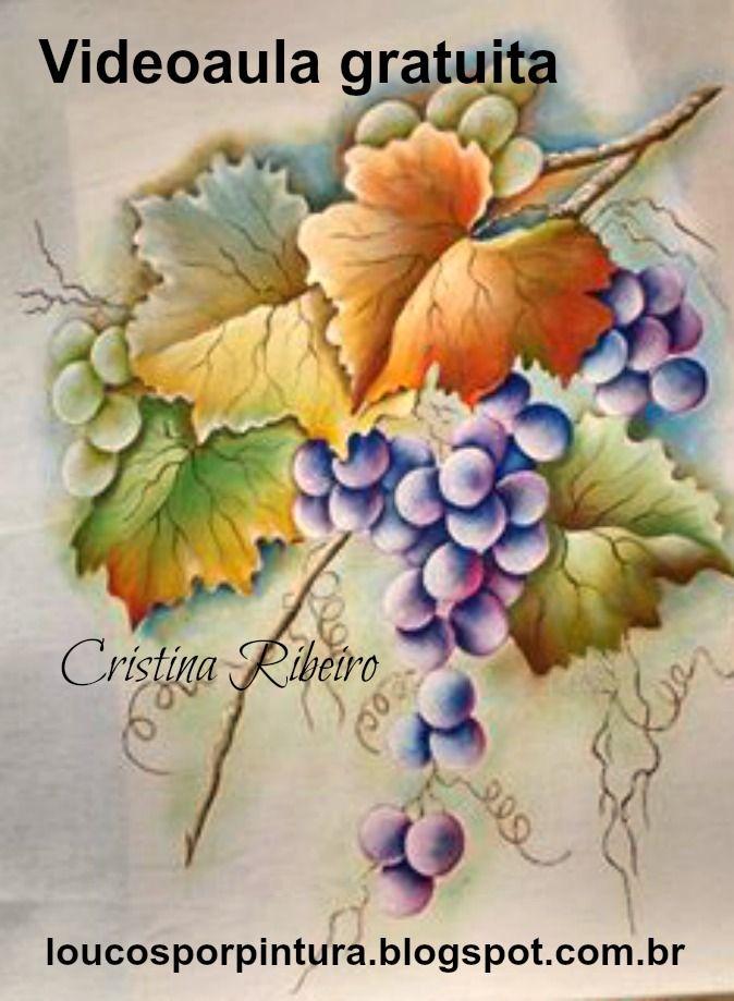 """Loucos por pintura - Aulas de pintura em tela e tecido: Projeto """"A parreira"""" - como pintar um lindo galho com uvas e folhas."""