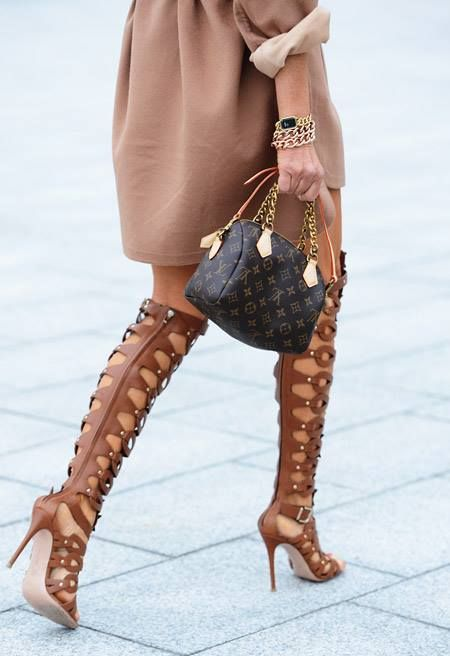 gladiator boots. LV bag. perfection.