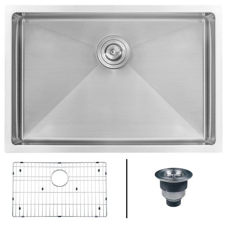 Undermount Stainless Steel 26 in. Single Bowl Kitchen Sink 16-Gauge, Brushed Stainless Steel