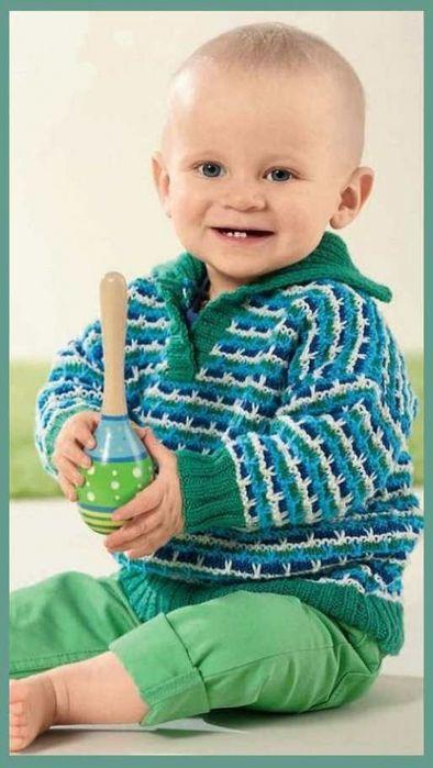 Озорные петельки: Полосатый пуловер с воротником для мальчика