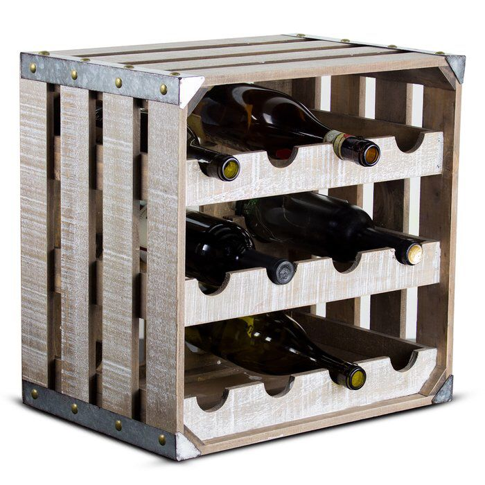 Dowe Crate 12 Bottle Tabletop Wine Bottle Rack Rustic Wine Racks