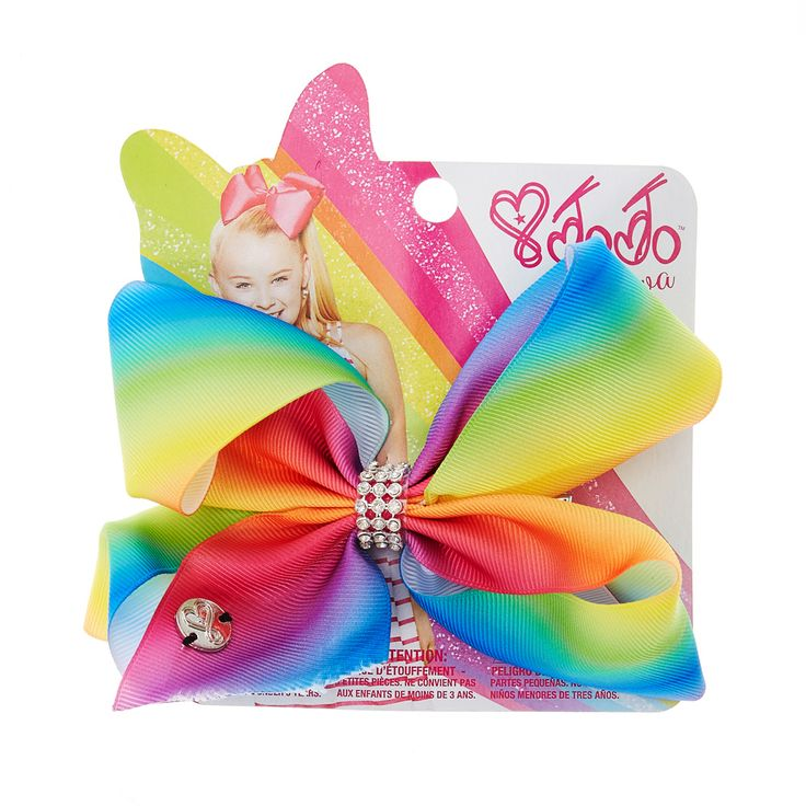 <P>Add some fun colour to your hair style with this small rainbow bow from the Jojo Siwa collection. The bow has been attached to a metal salon clip making it really easy to wear and has been joined together with a rhinestone keeper.</P><UL><LI>Jojo Siwa collection <LI>Small rainbow rhinestone bow <LI>Metal salon Clip</LI></UL><P>The Jojo Siwa signature bow collection is available at Claire's and has been inspired by Jojo's iconic dance hair styles featuring a fun range of bright and…