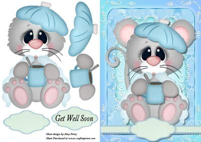"Poorly Little Mouse on Craftsuprint designed by Amy Perry - Poorly Little Mouse in lovely blue fancy frame with ribbon tag also has decoupage and choice of tag ""Get Well Soon"" and a blank tag for your own sentiment - Now available for download!"
