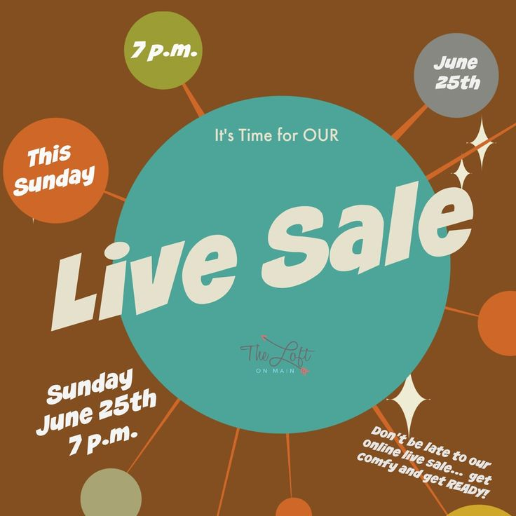 Mark your calendars and join us online at The Loft on Main's FB page at 7 p.m. sharp!  #livesale